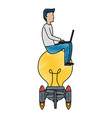 young man working with laptop in bulb launcher vector image