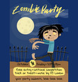 zombie party poster with monster in graveyard vector image vector image