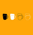 cup beer black and white set icon vector image