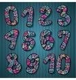 Decorative doodles numbers vector image