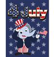 Elephant head man cartoon cheerful in 4 july vector image