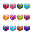 big set with cartoon different heart vector image