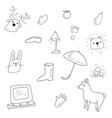 a children coloring bookpage doodle icons image vector image