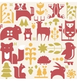 Autumn Animals and Plants in Flat Style Seamless vector image