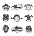 badges set for wood working industry vector image