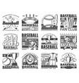 baseball sport ball bat stadium and player icons vector image vector image