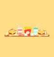 bistro cafe served fast food burger and drink vector image vector image