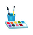 bright watercolor paints in box and brushes in cup vector image