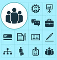 business icons set with id badge leader pen and vector image