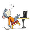 cartoon mouse and laptop vector image