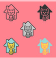 cat house logo animal shelter care happy cool vector image vector image