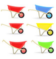 collection of colorful wheelbarrows carts for vector image vector image