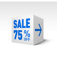 cube banner template seventy-five percent off vector image vector image