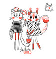 cute card with best friends fashion girls baby vector image
