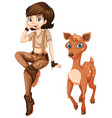 cute girl with little fawn vector image vector image