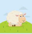 cute sheep happy eat grass cartoon vector image vector image