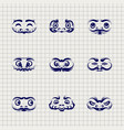 daruma dolls faces on notebook background vector image