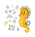 doodle seahorse underwater life pattern vector image