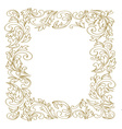 Elegant Floral frame Golden outline vector image
