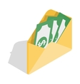 Envelope with money icon isometric 3d style vector image vector image