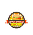 fast food burger sandwich icon vector image