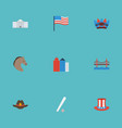 flat icons bridge usa hat america and other vector image vector image