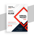geometric red modern annual report business flyer vector image vector image