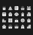 gift white silhouette icons set vector image vector image