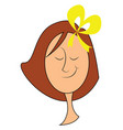girl with yellow bow hand drawn design on white vector image
