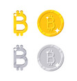 gold and silver bitcoins vector image vector image