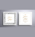 golden invitation with frame leaves and flowers vector image vector image