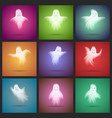 halloween transparent white scary ghost template vector image vector image