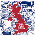hand drawn stylized map united kingdom vector image