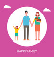 happy family poster with parents daughter vector image vector image