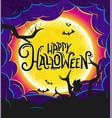 happy halloween banner with calligraphic logo vector image vector image