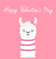 happy valentines day llama alpaca girl animal vector image