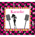 Karaoke night abstract with microphone and singer vector image