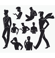 large collection of men silhouettes vector image