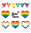 Lgbt support fight for gay rights hearts graphic vector image vector image