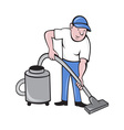 Male Cleaner vacuuming vacuum cleaning vector image