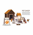 pets accessories isolated on white pet shop vector image
