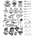 pirates design elements corsair skulls weapon vector image vector image