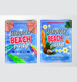 poster for summer and beach party background vector image vector image