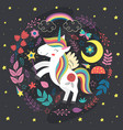 poster with magic night unicorn vector image vector image