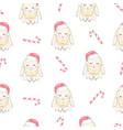 rabbits wearing santas hats cute seamless pattern vector image vector image