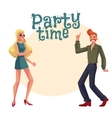 Red haired man blond woman 1970s style clothes vector image