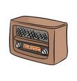 retro brown radio sketch doodle vector image vector image