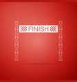 ribbon in finishing line icon on red background vector image vector image
