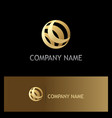 round sphere gold technology logo vector image vector image