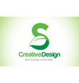 s green leaf letter design logo eco bio leaf vector image vector image